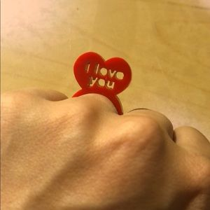valentine's day red i love you plastic ring small